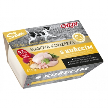 Sam vanička pro psy s kuřecím masem 97% podíl masa, 415 g
